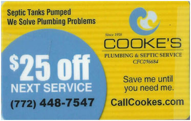 Septic pump out coupon for Treasure Coast homes and businesses